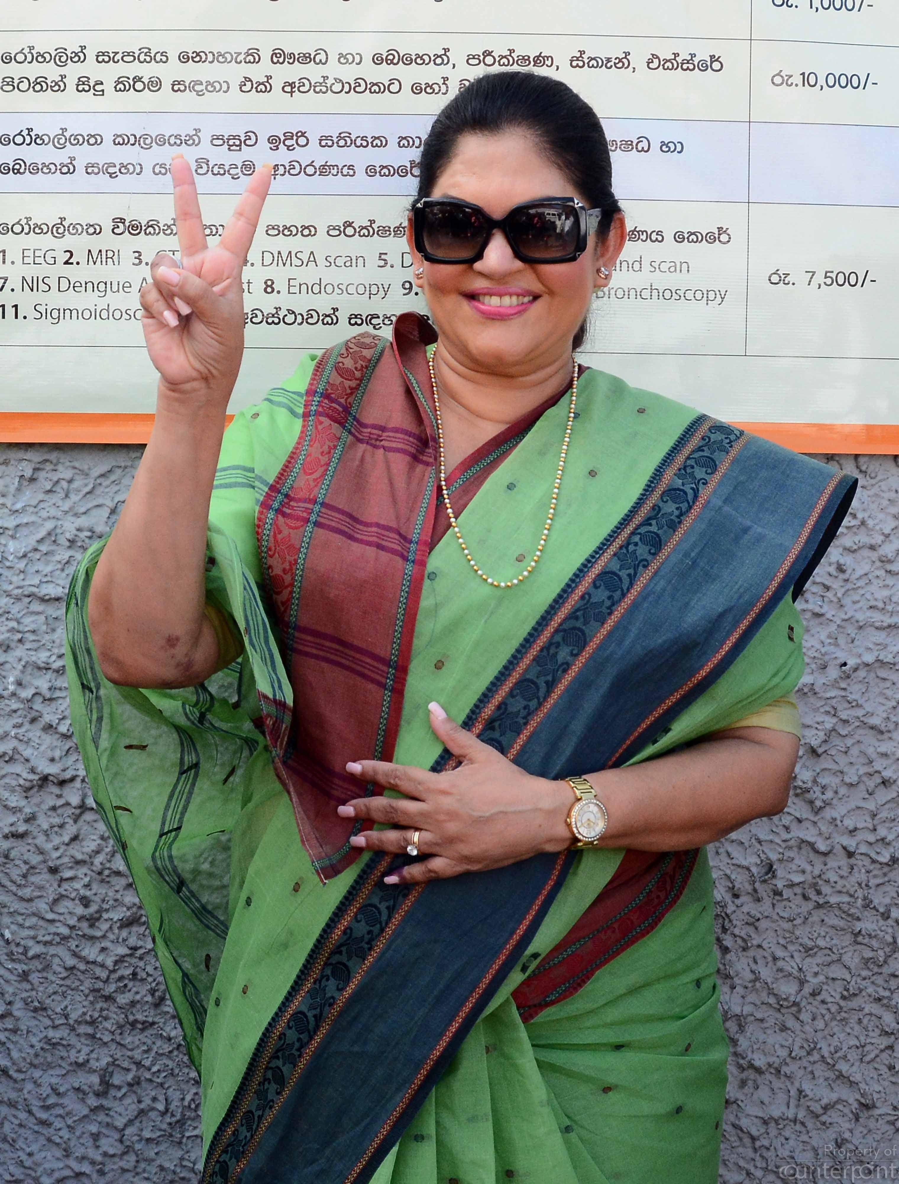 Rosy Senanayake, Mayor Elect, the first woman to be the Mayor of Colombo.