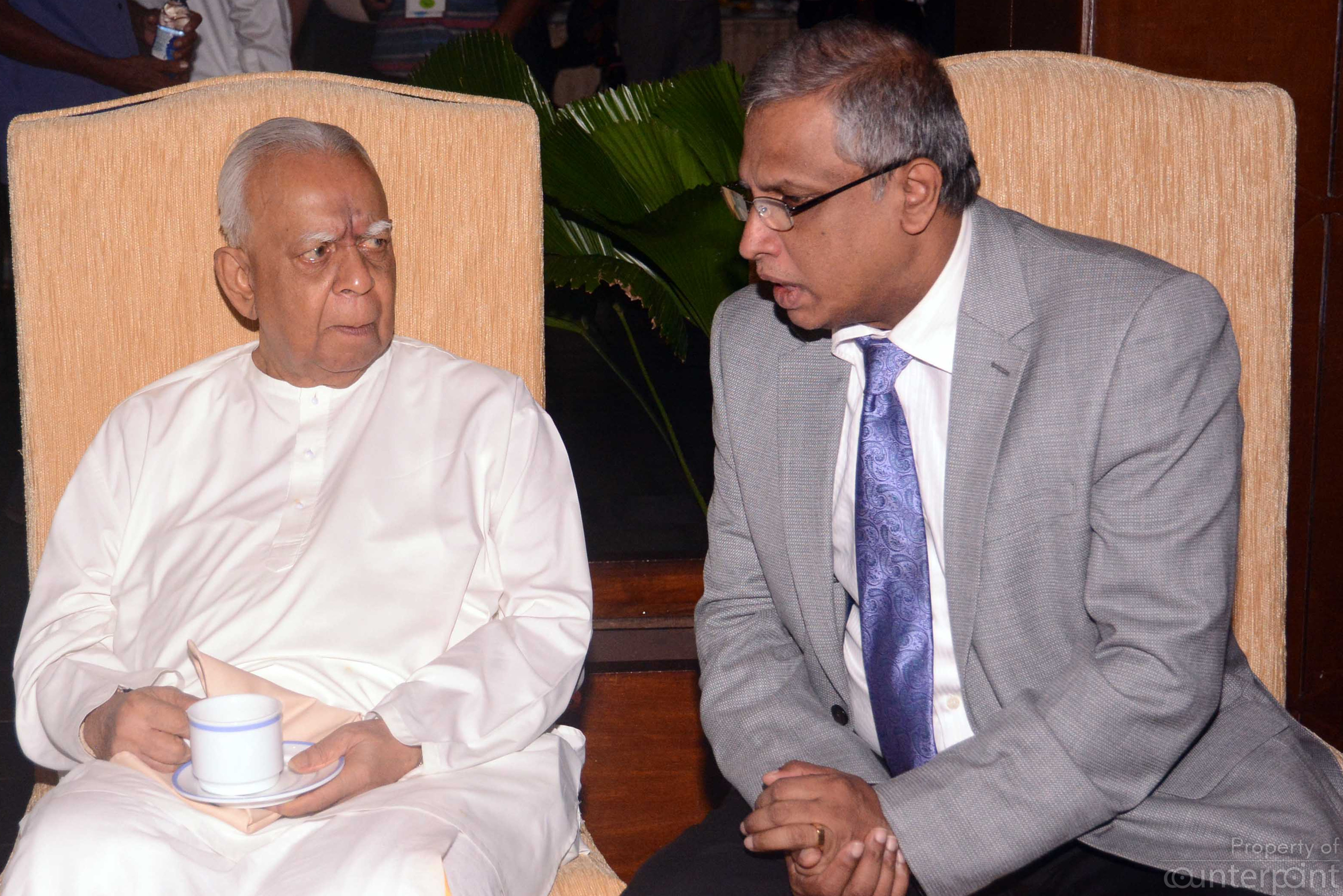 TNA Leader R Sambandan and Jaffna District MP, M. A. Sumanthiran at the Budget Tea party.
