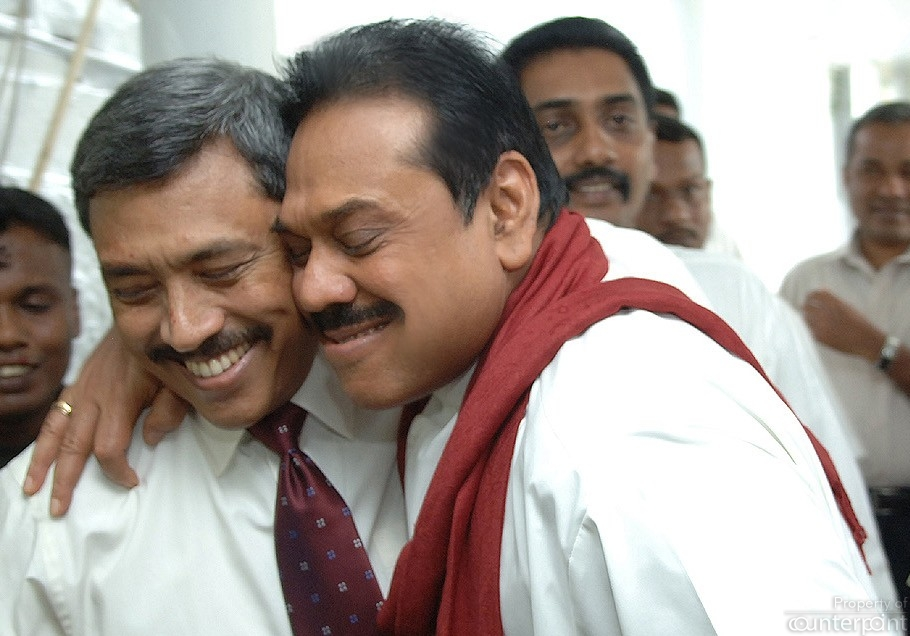 One cannot get closer than this to a country's president and that is why the back channel to the Indian establishment was such a success. A relieved President Rajapaksa hugs his Younger brother Gothabaya soon after the then Defence secretary escaped an assassination attempt by the LTTE.