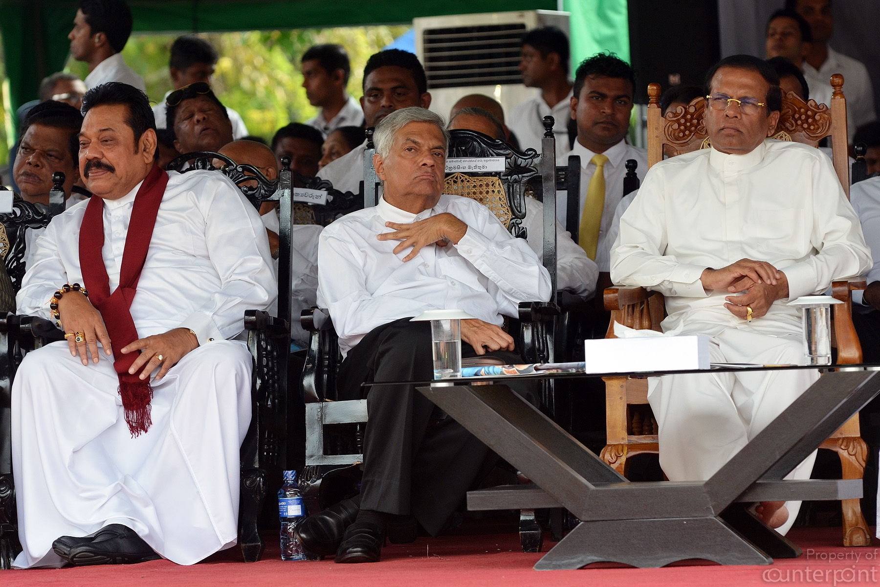 See no evil, hear no evil, say no evil.... In this Vesak season, these three politicians seem to be contemplating about a proverbial Monkey.
