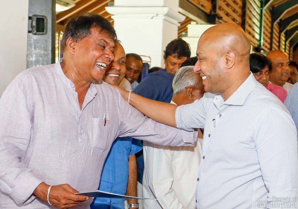 Professor Rohana Lakshman Piyadasa (left) was appointed acting General Secretary of the Sri Lanka Freedom Party, and the outgoing General Secretary, Duminda Dissanayake, the National Organiser in early June this year. Both insist that President Sirisena will be SLFP's Presidential candidate. Both are obviously living on cloud nine.