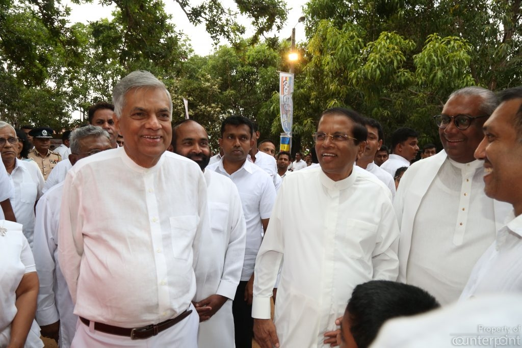 A rare scene these days, seeing President Sirisena and Prime Minister Ranil Wickremsinghe all smiles. They were attending a ceremony to mark Poson Poya at the Mihintale Rajamaha Viharaya on June 27. Only time will tell whether this is a temporary truce or a permanent ceasefire.