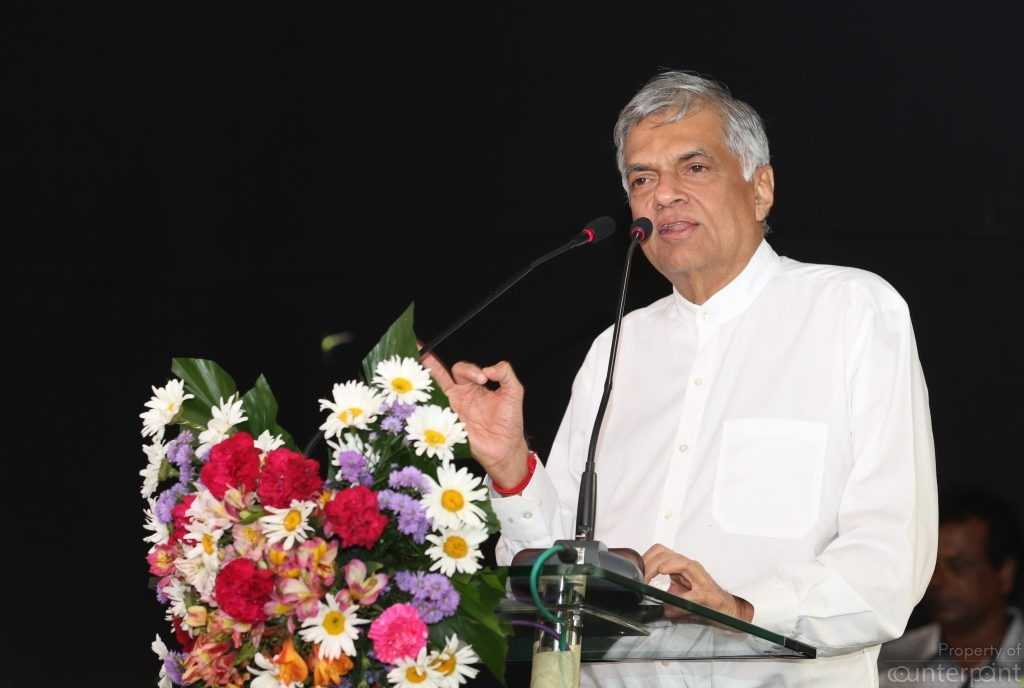 Prime Minister Ranil Wickremasinghe making yet another speech. His attack on Gotabhaya Rajapaksa's Viyathmaga speech is the opening shot of the Presidential battle.