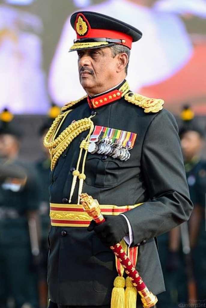 General Sarath Fonseka taking oaths as Field Marshal. The promotion was not for winning the war but in lieu of losing the presidential election in 2010. He was the first military officer to contest a presidential election and might still be the candidate in 2019. Will Gotabhaya meet his Waterloo?
