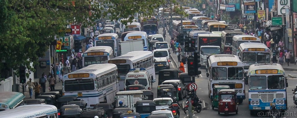 Traffic in the heart of Colombo. Earlier it was ok, and then it became difficult, now it is a nightmare. If this is progress, we have arrived!