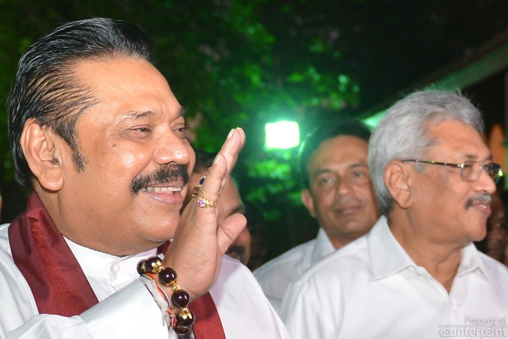 The two Rajapaksa's – Mahinda and Gotabaya at a ceremony on May 19, 2018 to mark the war victory. Can Gotabaya ride his brother's popularity to the Presidency?