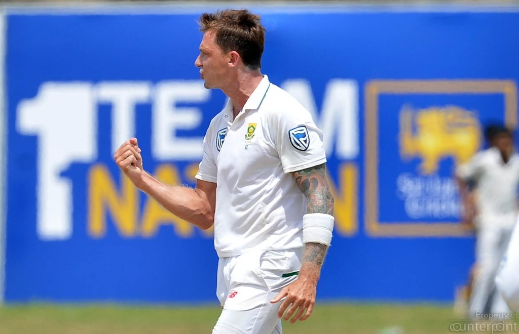 South African fast bowler Dale Steyn celebrates after he dismissed key Sri Lankan batsman Kusal Mendis during the first day of their opening Test in Galle. The South African fast bowlers would still be effective in slow Sri Lankan wickets.
