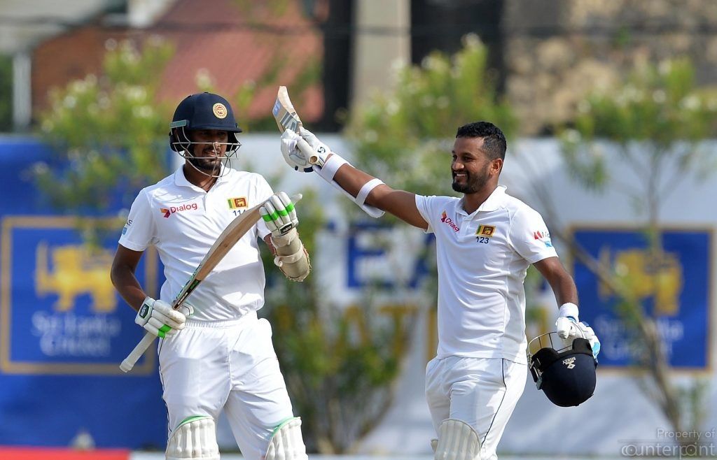 Opening batsman Dimuth Karunaratne held the innings together after Sri Lanka won the toss and decided to bat on the first day of the opening Test between Sri Lanka and South Africa in Galle.