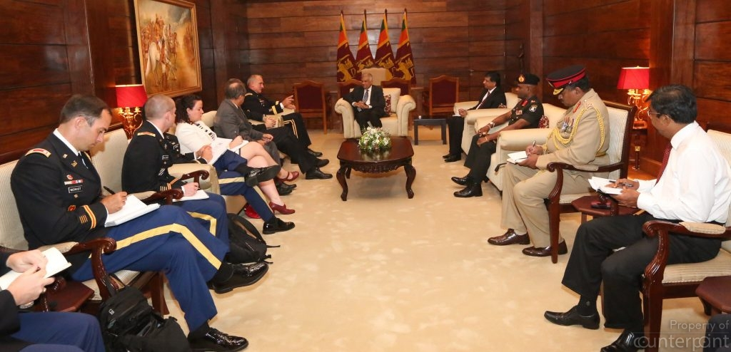 Senior Officials of the United States Pacific Command meeting Prime Minister Ranil Wickremsinghe at Temple Trees recently. Such meetings don't mean that our politicians can grasp the security challenges facing the country today.