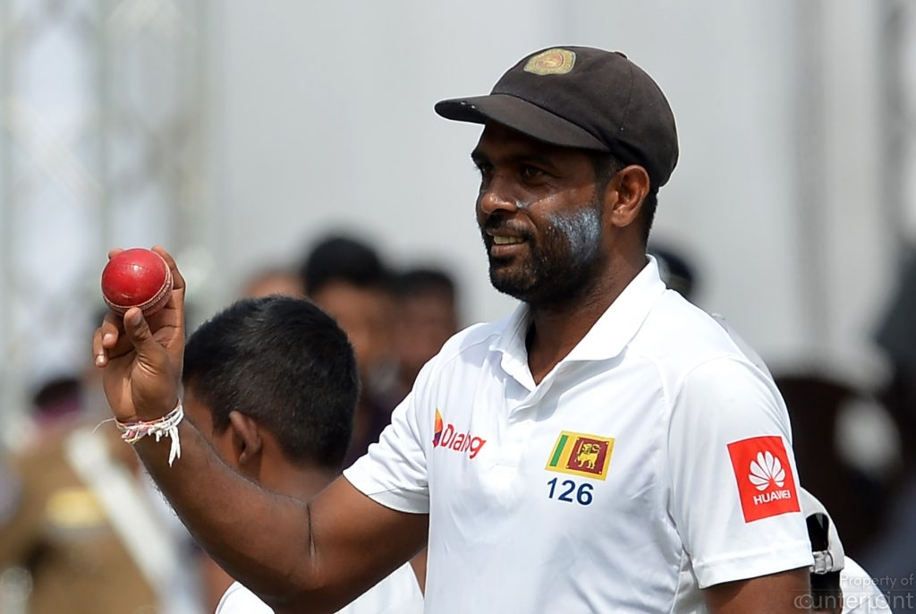 Off Spinner Dilruwan Perera showing off after a match winning performance in the first test in Galle. Sri Lanka's three prong spin attack bowled all the overs other than for 3.4 overs in Galle, by fast bowler Suranga Lakmal.