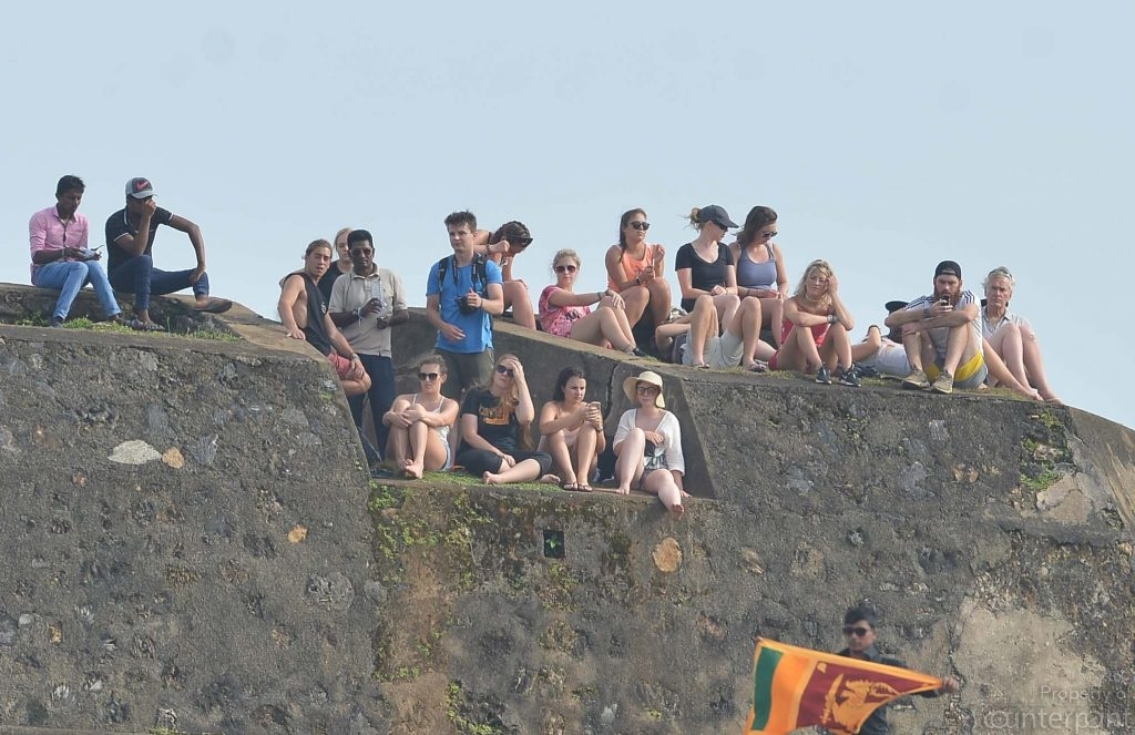 Sri Lankan and South Africa cricket fans, watch from the 14th century Dutch Fort, the first day of the first test. A birds eye view of a series that will hard fought.