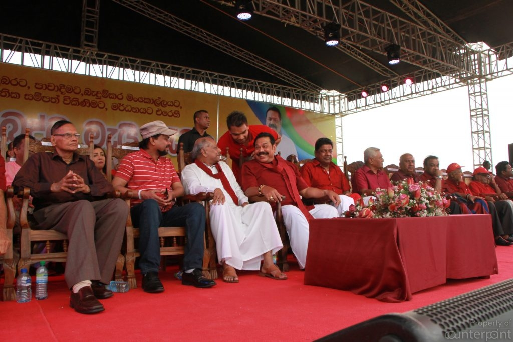 Leaders of the Sri Lanka Podujana Peramuna during happier times, on stage at the May Day rally in Galle this year, soon after winning the local government elections. Now they are bickering over the candidate for the next presidential election.