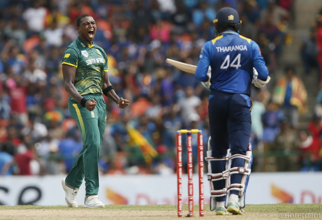 South Africa's Lungi Ngidi celebrates after taking the wicket of Sri Lanka's Upul Tharanga during the third One Day International. Sri Lanka got thrashed in the first 3 matches before making a comeback on the fourth.