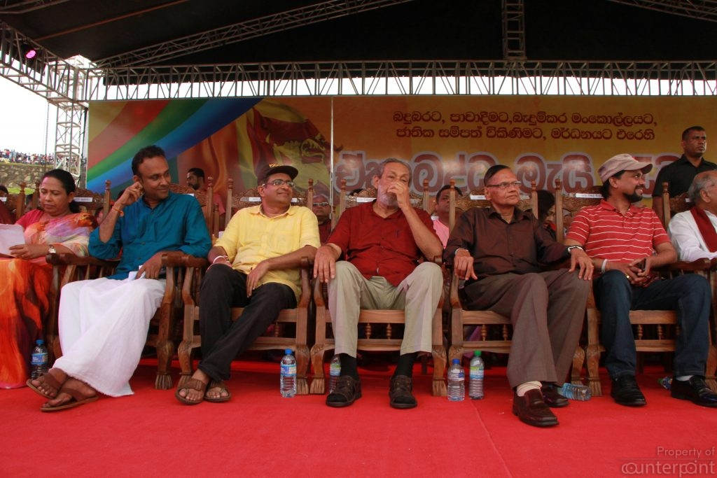 G.L Peiris seen here on stage with his colleagues says he will ask the courts to interpret the 19th amendment.
