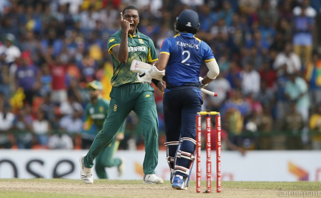 South Africa's Lungi Ngidi celebrates after taking the wicket of Sri Lanka's Kusal Mendis during the third One Day International. Sri Lanka's top order was not consistent in the first 3 matches.