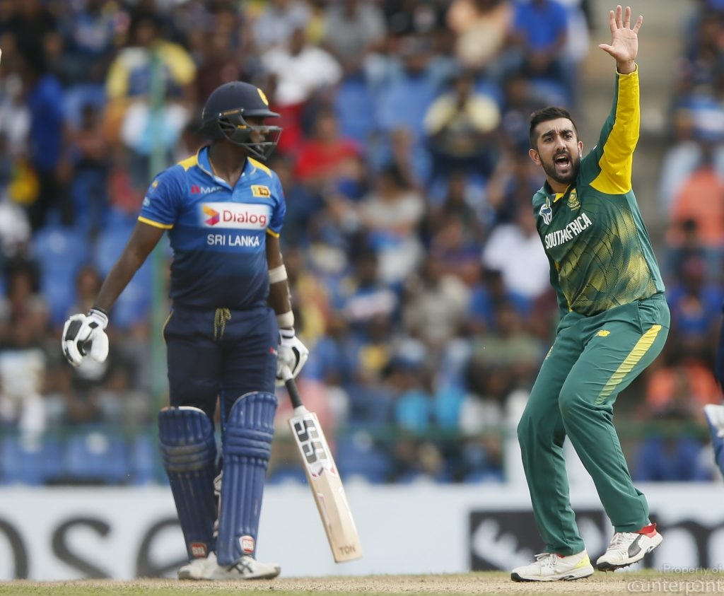 South Africa's Tabraiz Shamsi appeals successfully to get the wicket for Sri Lanka's captain Angelo Mathews. His return to the game after injury was anything but spectacular.