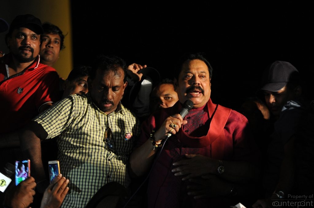 A visibly tired but jubilant former President Mahinda Rajapaksa came back to Lake House roundabout early in the night to make a short address to the protestors who had settled down for the night.