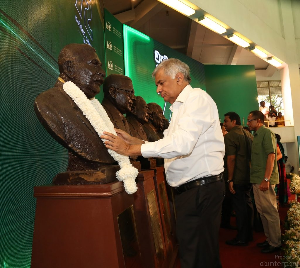 UNP leader, Prime Minister Ranil Wickremesinghe garlanding party founder and first prime minister D.S. Senanayake at the 72nd anniversary of the Party. The current PM it appears, is planning for a long innings.