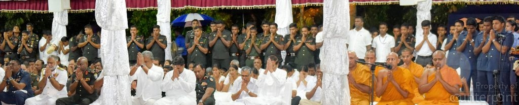 President Sirisena joins members of the Armed forces to commemorate the dead. The Military continues to occupy land and have started various enterprises on properties that belong to civilians in the North and the East.