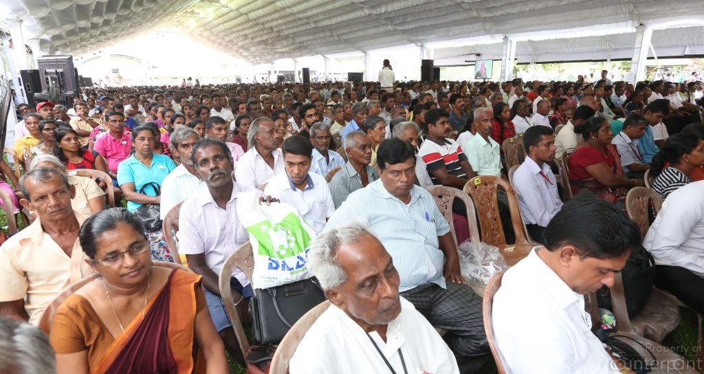 The government has been gifting land deeds to many people such as this group around the country lately. But several Sinhalese, Tamils, and Muslims displaced by the ethnic conflict have not had their land returned to them yet.