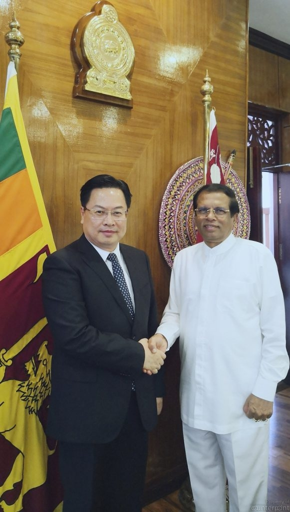 President Sirisena with Chinese Ambassador to Sri Lanka Cheng Xueyuan (Photo credit: Chinese Embassy website).