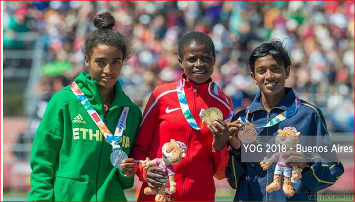 Paarami Wasanthi (right) with Kenya's Fancy Cherono (centre- gold) and Ethiopia's Mekides Abebe (silver) on the Youth Olympics podium.