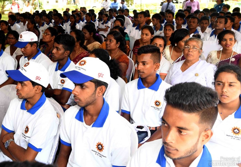 Youth participating at a vocational training program in Talalle recently. Sri Lanka needs to move away from the white collar job mentality and promote all career paths on an equal footing.