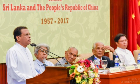 Chinese business is booming in Sri Lanka. President Sirisena addressing an event to mark Sri Lanka –China friendship.