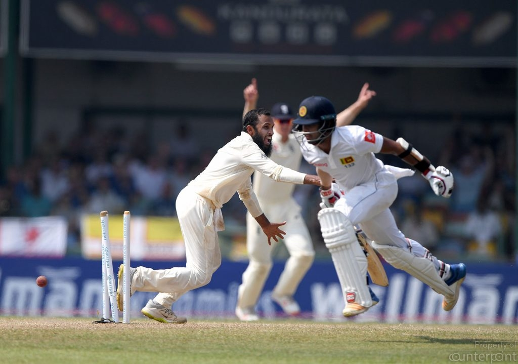 The turning point of the third Test as a set Kusal Mendis is run out by a Jack Leach direct hit.