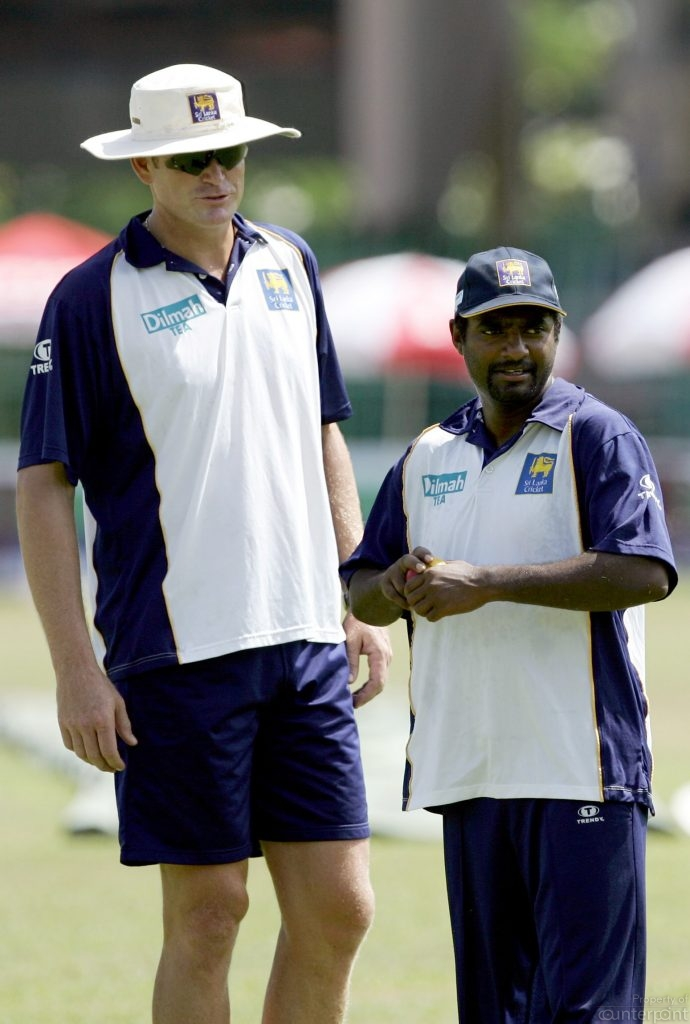 Tom Moody with Muralitharan.  Moody's manner of motivating players was unique.