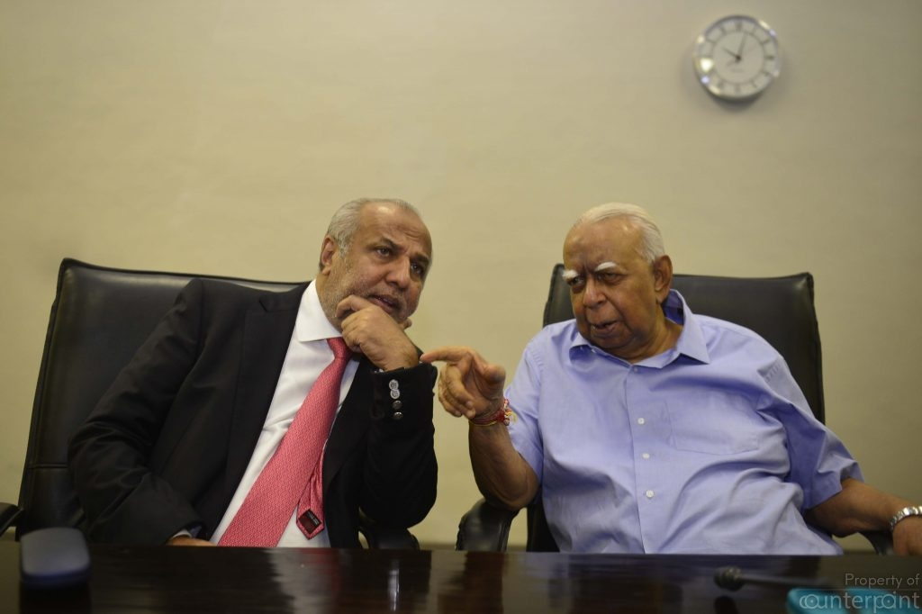 The Sri Lanka Muslim Congress's Rauf Hakeem and TNA's R. Sambanthan in conversation during the recent political crisis.  In the troubled political climate, minority parties are king-makers.