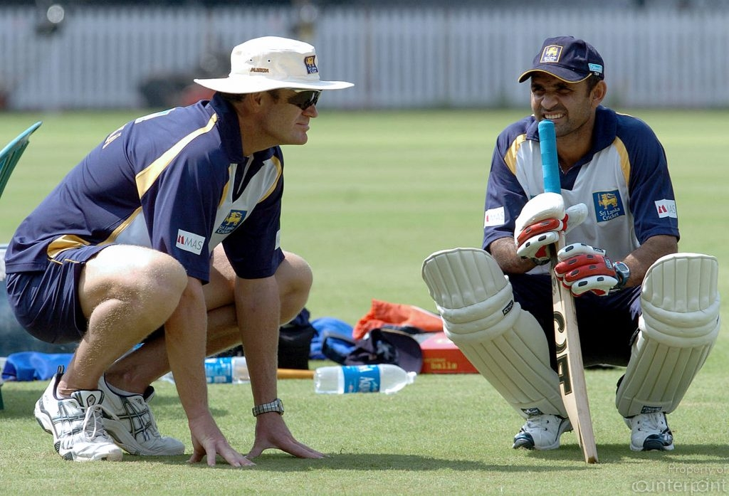 With former Captian Marvan Atapattu. Moody stressed on playing the Sri Lankan brand of Cricket!