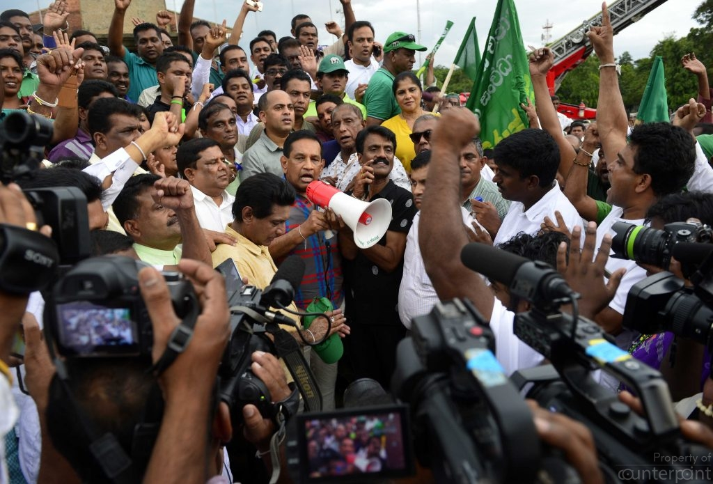 President Sirisena's sacking of Prime Minister Wikcremesinghe in favour of  former President Rajapaksa has resulted in daily protests in Colombo.  Here, a protest organized by the UNP which culminated at the Independence Square.