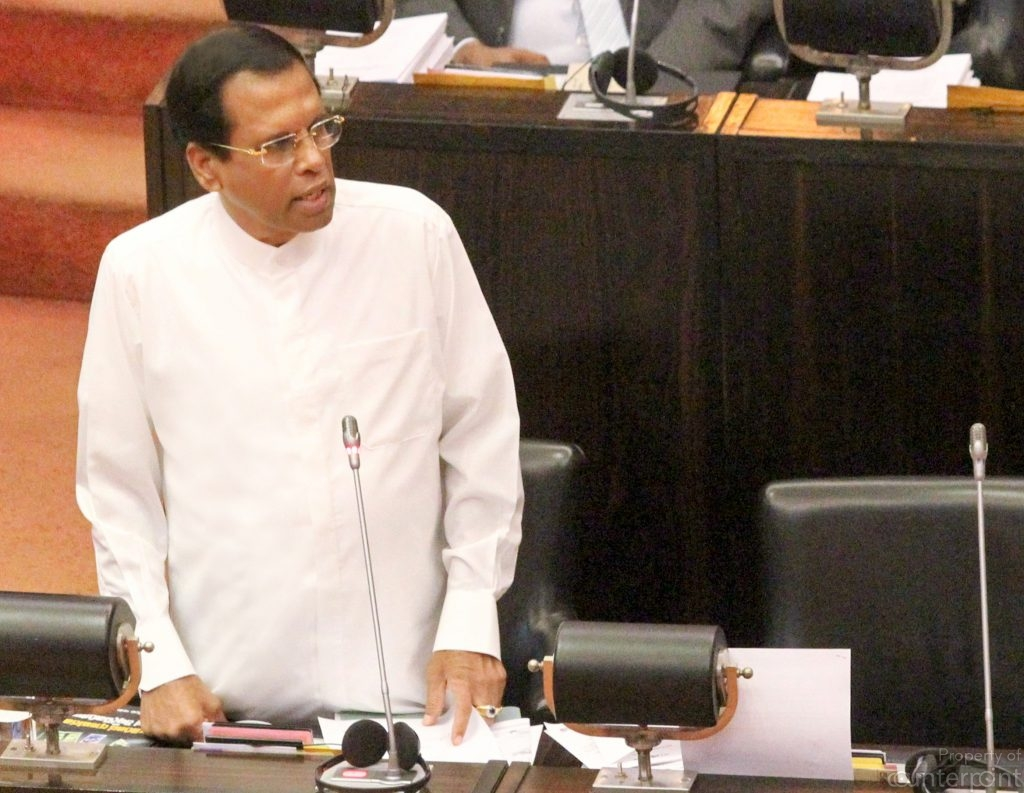 President Sirisena speaking in Parliament.  The 19th Amendment has greatly reduced the powers of an Executive President, and with attempts to derail the UNF government in October this year going awry, Sirisena faces a bleak future.