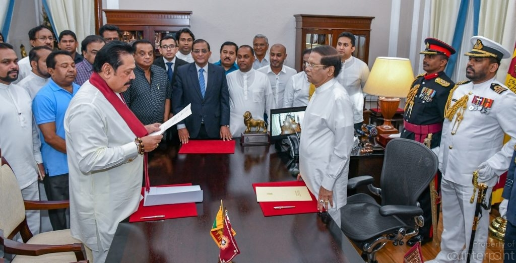 On October 26, President Sirisena sacked Prime Minister Ranil Wickremesinghe and appointed former President Mahinda Rajapaksa as PM.