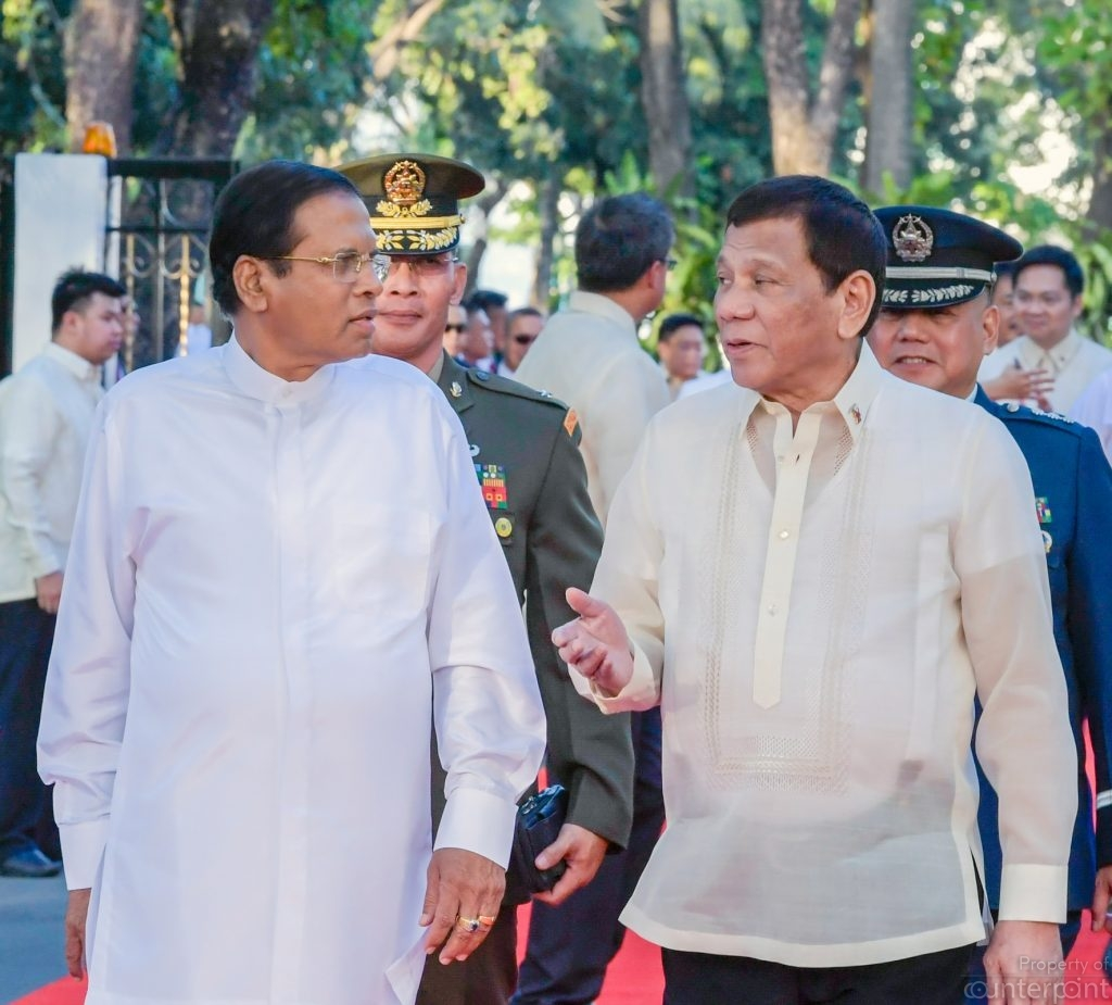 On a recent visit to the Philipines, President Maithripala Sirisena, seen here with Philippines President Rodrigo Duterte vowed to follow the latter's method of fighting drugs. Not everyone is happy with that plan, though the rank and file may see it as a blessing.