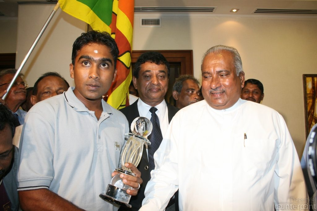 In 2008, Sports Minister Gamini Lokuge dismissed the cricket board, appointed his Ministry Secretary S. Liyanagama as Competent Authority of Sri Lanka Cricket and entered into a multimillion dollar television deal with a blacklisted company. True to form the company defaulted payments. Lokuge is seen here with then captain Mahela Jayawardene after the national cricket team returned home having won the Asia Cup. Liyanagama is seen between Jayawardene and Lokuge.
