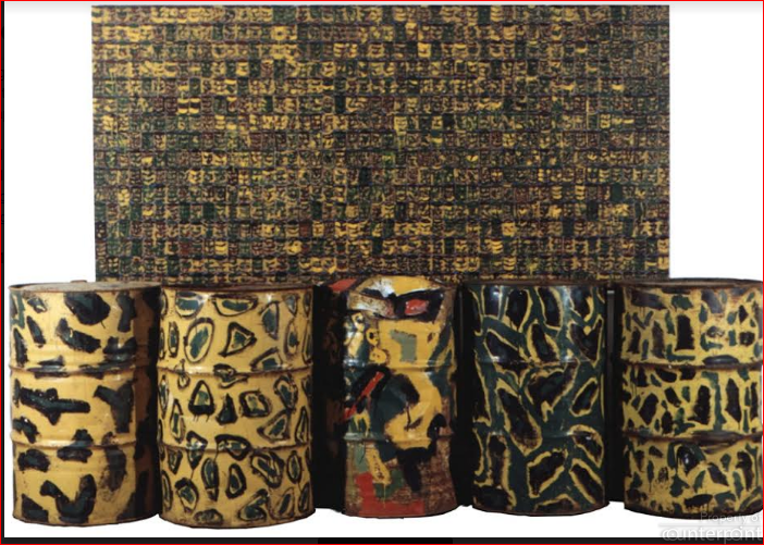 "Chandraguptha Thenuwara's ""Barrelism"" portrays barrels and camouflage in many forms and media. Thenuwara was amongst the 1990's artists who opted to work within a very different framework of art compared to Keyt and the 43 Group."