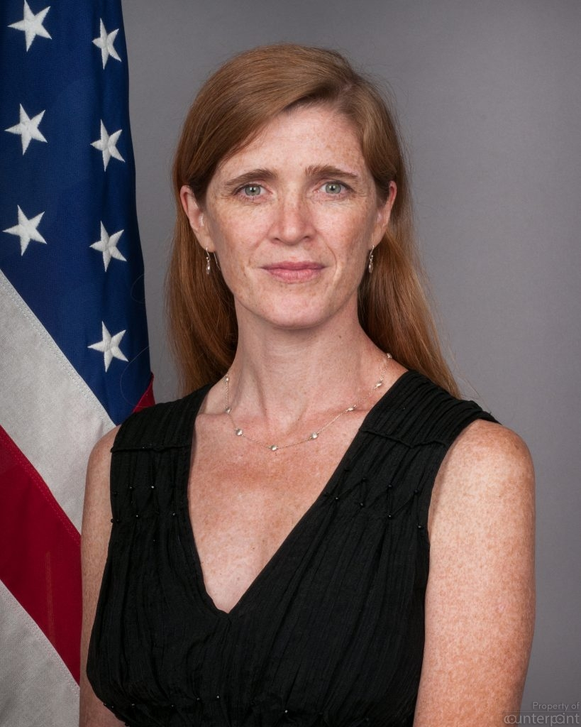 Samantha Power, the Obama administration US Ambassador to the UN conveyed some home truths Opposition Leader Mahinda Rajapaksa (photo credit, By United States State Department - http://usun.state.gov/leadership/c58902.htm, Public Domain, https://commons.wikimedia.org/w/index.php?curid=28105735)