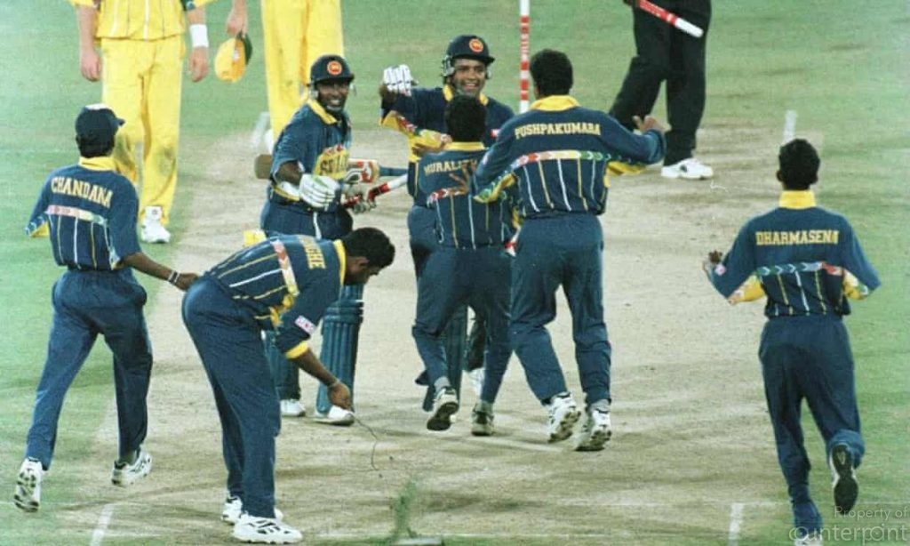 Sri Lanka's cricket team celebrating their World Cup victory.