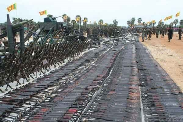 Some of the weapons seized by the army from the LTTE