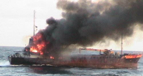 An LTTE arms ship destroyed by the Navy in Sept. 2007