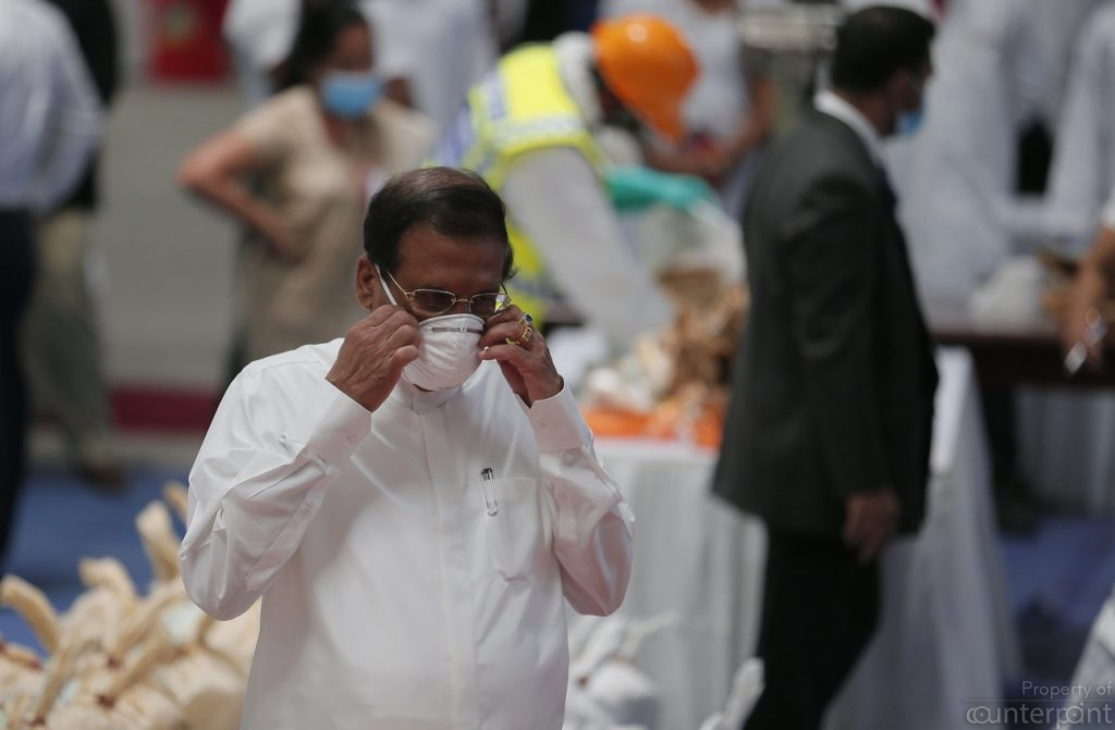 President Maithripala Sirisena is spearheading a war on drugs. He is seen at the site where 769 kilos of Cannabis was destroyed on April 1.