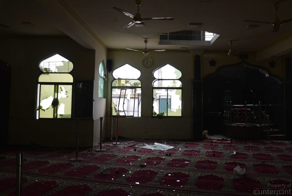 A mosque that was damaged during riots that occurred earlier this week.
