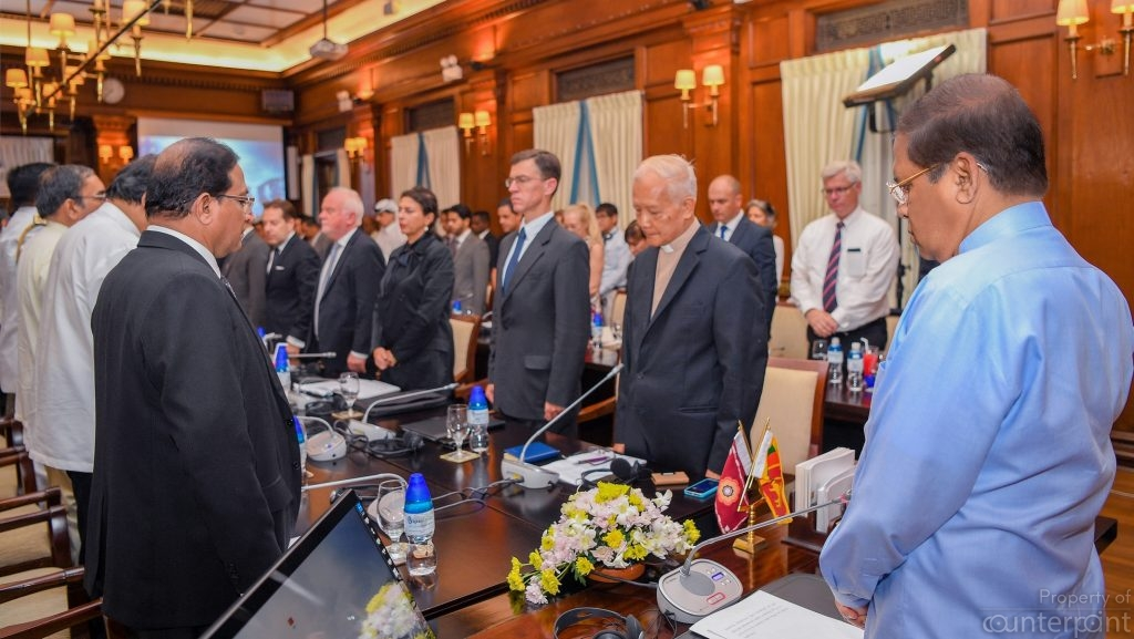 Two minutes silence was observed at a meeting of foreign diplomats and President Maithripala Sirisena in remembrance of the victims of the Easter Sunday attacks. (courtesy PMD)
