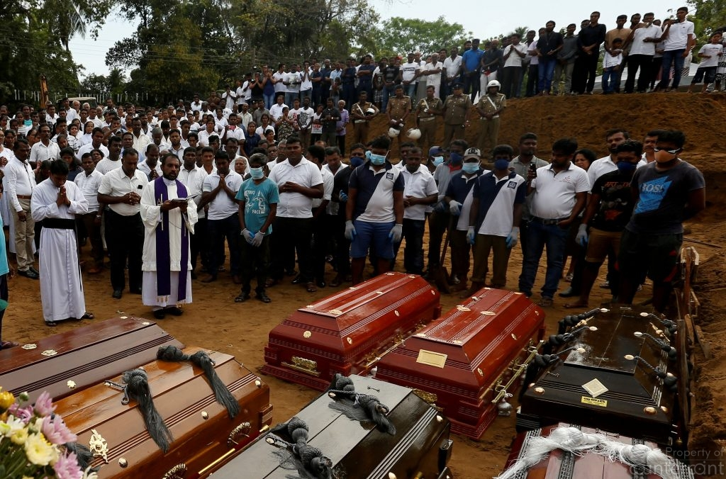 A mass burial for the victims.