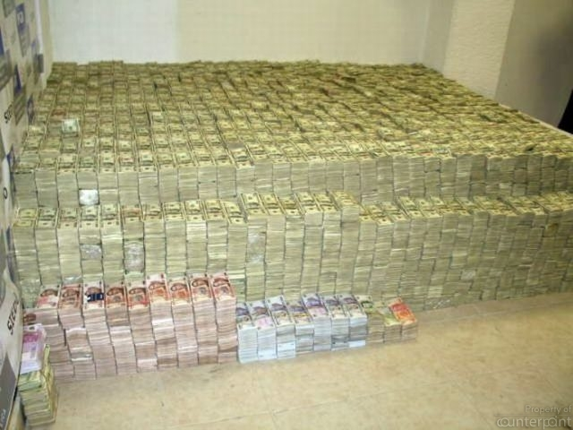 Part of a huge stock of money the Mexican army seized from the Sinaloa drug cartel in 2008. (Picture courtesy: Associated Press)