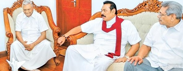 Will Mahinda Rajapaksa (centre), anoint either of his brother's, Chamal (left) Gotabaya (right) as the SLPP's presidential candidate?