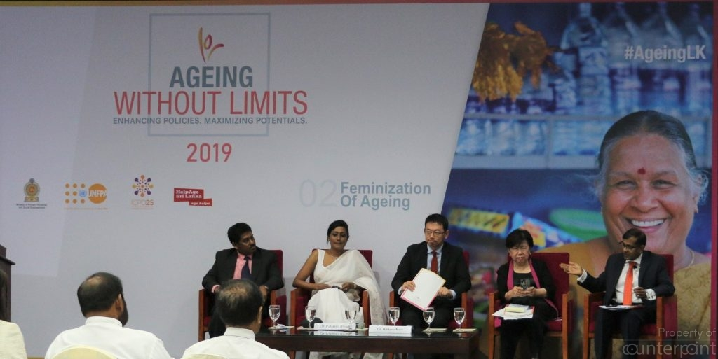 Ageing without limits panelists from left to right, Mr. Rammurti, Ministry of Primary Industries and Social Empowerment, Dr. Pabasari Ginige, Rintaro Mori and Thelma Kay.  Dr. Ganeshan Wignaraja (far right) Executive Director, Lakshman Kadirgamar Institute was the moderator. (courtesy UNFPA)