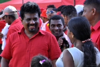 JVP Leader Anura Kumara Dissanyake speaking to party supporters. Their No-faith motion against the government was defeated. What will they do next to shore up support from the rank and file?